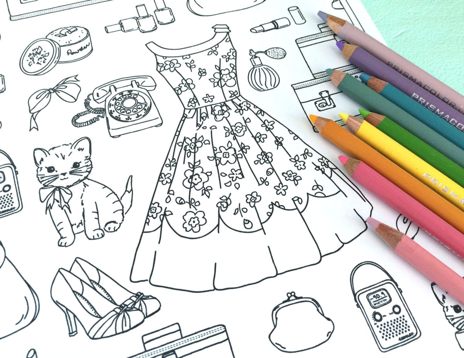 Printable GIRLY THINGS Coloring Page Digital File Instant