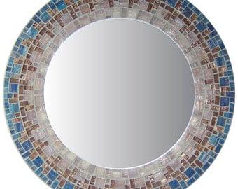 Royal Blue & Purple Round Mosaic Mirror