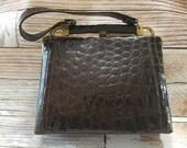 Vintage Alligator Look Handbag with Original Mirror Included in Brown