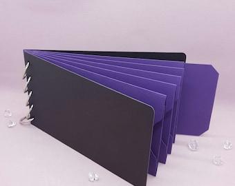 "Purple Shades, Pocket Tag, Chipboard Album, Size 8-1/4"" x 4-1/4"", Scrapbooking, Memory Keeping, Photo Album, Black Covers"