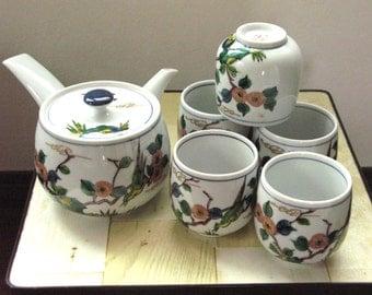 Japan Kutani Vintage Tea Set 1 Teapot Kyusu + 5 Teacups Chawan FREE SHIPPING WORLDWIDE