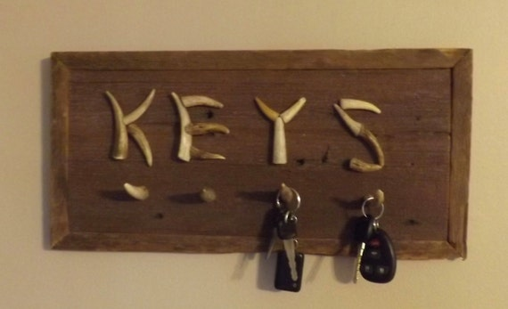 Key hanger holder plaque barn wood deer antler by bobsantlercrafts - Antler key rack ...