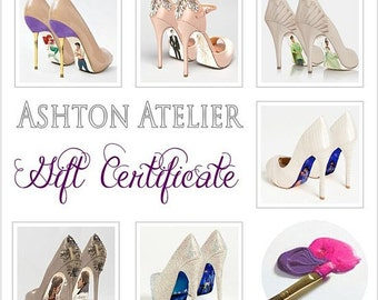 Gift Certificate for one pair of hand painted heels