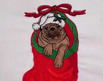 Large Santa Pug Embroidered Quilt Block