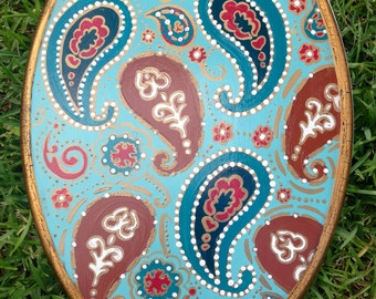 """Toilet Seat, Vintage, Paisley Morroccan Boho ~  w Metal hinges hardware ~ 18"""" Elongated  or 16"""" Round / MADE to ORDER"""