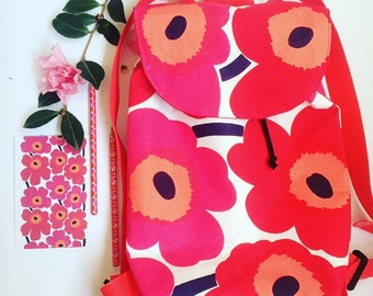 Women's Floral Back Pack made with Marimekko Unikko Fabric, Travel Bag, Backpack