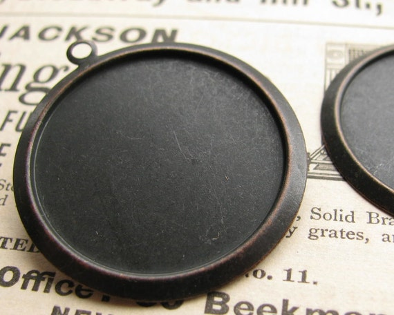 27mm round setting, black antiqued brass (2 brass trays) flat back setting, 27mm brass frame for cabochons, use with a bezel