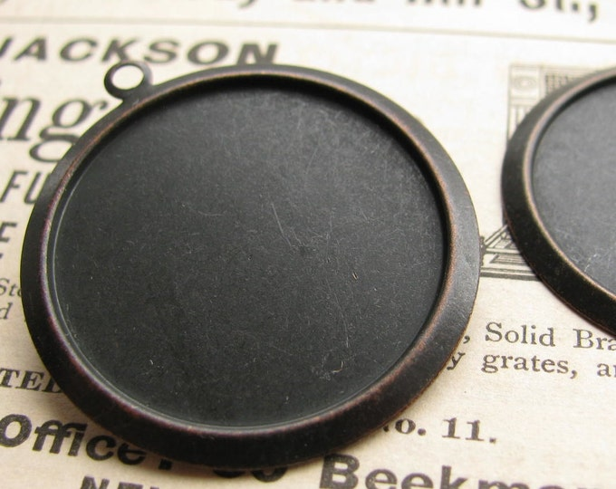 27mm round setting, black antiqued brass (4 brass trays) flat back setting, 27mm brass frame for cabochons, use with a bezel