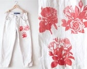 Distressed Vintage Levis High Waisted White Denim Jeans With Red Roses Patch Handsewn PUNK Boyfriend Jeans Silvertab Made in the USA