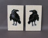 Two Crows with Attitude, on Hanging Stoneware Tiles