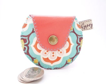Coral Leather Coin Purse / Mini Gypsy Coin Purse / Leather Change Purse / Coral Leather and Modern Cotton