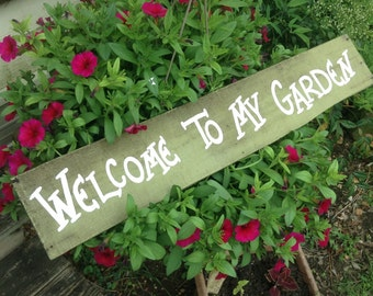Rustic Sage Green Salvaged Wood Welcome to My Garden Wreath Sign Hanging Ready to Ship