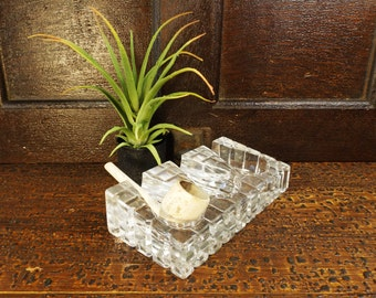 vintage 50s lead crystal pipe holder art deco block trio 3 container glass display prop smoking mad men retro mid century modern antique old