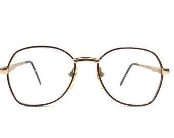 vintage 80s deadstock eyeglasses gold metal brown enamel round oversize frames eye glasses eyewear smart simple classic traditional old 122