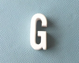 vintage 1930's white ceramic capital letter G small tiny little old antique porcelain decorative home decor retro personalized name initial