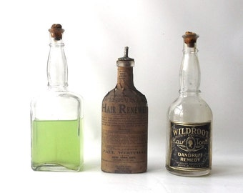 vintage 30's collection apothecary 3 bottles hair tonic product tincture lime green old antique age aged glass cork lid medicine bathroom