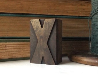 "vintage 20's 2"" letter x wood letterpress printers block stamp old antique retro decorative home decor aged weathered character small accent"