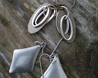 Antiqued silver diamonds & Two tone Oval - TAKE 5 Set of 2 pairs of earrings