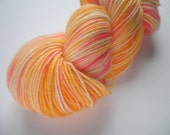 Hand dyed wool yarn, sock weight, 463 yards, 4-ply, Apricot