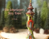 The Ledgerkeeper's Fairy Tower - Miniature Handcrafted Fae Tower with Terracotta Roof, Blooming Flower Box, Stone Ledger Facade and Moss
