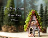 The Fairy Houses of Mossy Lane - Handcrafted Chalet Style Cottage in Lavender Purple w/ Moss Covered Roof, Flower Boxes and Wooden Door