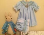Peter Rabbit Smocked Bishop with Matching Bonnet