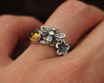 The Life of the Honeybee Sterling Silver Stacking Rings Bee Ring Citrine Ring Flower Ring Pollen Honey Bumblebee Stacking Ring Beekeeper