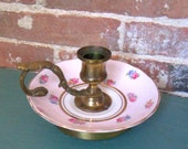 Candle Holder Pink Floral Porcelain Gold Metal Finger Loop Vintage Candle Loop Handle Holder