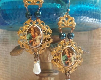 Vintage Assemblage Religious Medal Virgin Mary Catholic Relic Dangle Earrings