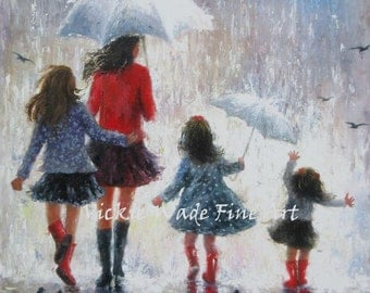 Mother and Three Daughters Art Print, three girls, mothers day gift, rain girls, mom, three sisters, rain paintings, Vickie Wade art