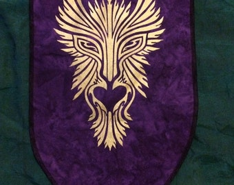 GreenMan Personal Sized Banner Screen Printed in Gold onto Purple Marbled Bali Cotton