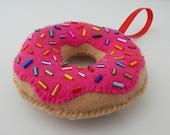 Raspberry Glazed Donut Ornament With Sprinkles