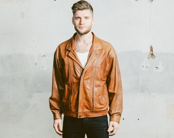 Men's Leather BOMBER Jacket . Vintage 80s Brown Leather Flight Aviator Distressed Autumn Worn In 1980s Faded Outerwear . Medium Large