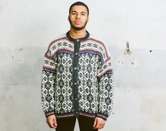 Vinatge NORDIC Sweater . 60s Mens Vintage Patterned Cardigan 1960s Handknit Jumper Norwegian Telemark Ski Jacket Wool . sz Medium Large XL