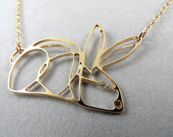 rabbit necklace, rabbit art, rabbit jewelry, contour rabbit, animal jewelry, rabbit