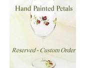 Custom Order for C:  Set of 2 Hand-Painted Wedding Champagne Flutes - Lavender, Pearl Roses - Wedding Party Toasting Flutes