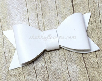 Faux Leather Bow in WHITE, Leather Bow, Hair Bow, Headband Bow
