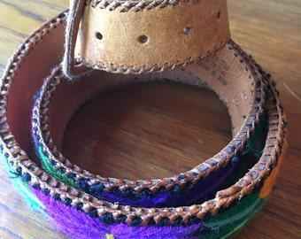 vintage. Floral Embroidered Leather Belt // Guatamelan 70s Belt // S to M