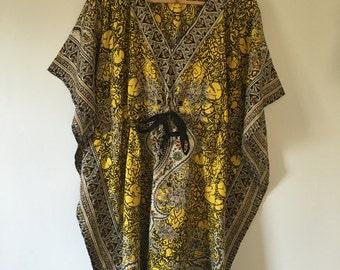 vintage.  Yellow Butterfly Tunic Top • Drawstring Boho Top • Freespirit Angel Sleeve Top