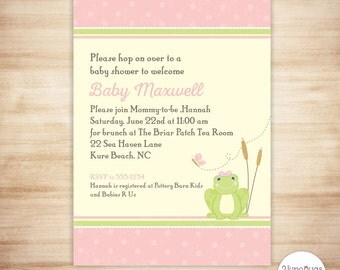 Pink Frog Baby Shower Invitation - Frog Baby Girl Shower - Froggy Baby Shower Invite - PERSONALIZED & PRINTABLE