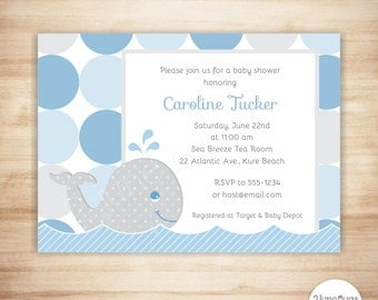 Whale Baby Shower Invitation - Preppy Whale Baby Boy Shower - Baby Shower Invite - EDiTABLE PDF - INSTANT DOWNLOAD