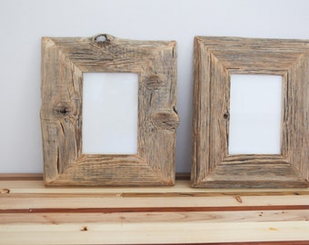 2 x Reclaimed Farm Wood Artwork or Photo Frame Collection two 5x7 frames