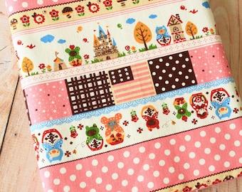 Pink Matryoshka Animals Cotton Linen blend fabric quarter