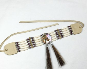 Native American style choker, french lavender trade beads, abalone disc, brown horse hair, tan deer skin, pow wow, dance regalia, purple