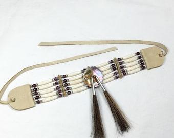 Native American style choker, french lavender trade beads, abalone disc, brown horse hair, tan deer skin, pow wow, dance regalia, purple