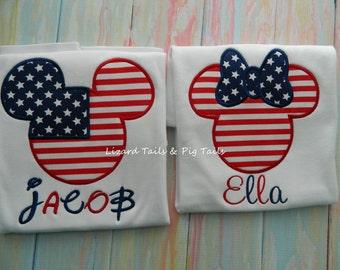 Patriotic Minnie Mickey 4th of July Disney Shirts