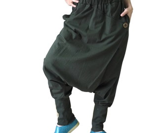 Women Men Pants - Drop Crotch Dusty Olive Cotton Jersey Pants With 2 Side Pockets And Elastic Waist Band