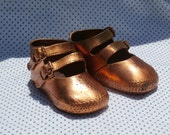 Sweet Bronzed Baby Shoes, Buckle Shoes - Makes a Sweet Centerpiece for Baby Shower
