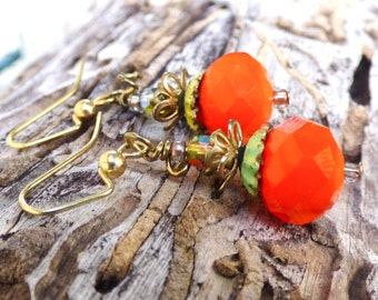Gorgeous Pumpkin Thanksgiving Fall earrings Handmade OOAK
