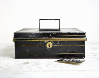 Metal Cash Box / Antique Storage Box / Tole Document Box / Industrial Storage